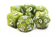 Old School RPG Dice Set: Pearl Drop - Shimmer Green