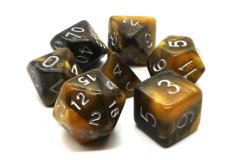 Old School RPG Dice Set: Galaxy - Molten Gold