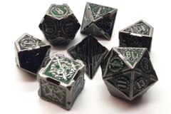 Old School 7 Piece DnD RPG Metal Dice Set: Knights of the Round Table - Emerald