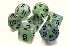 Old School 7 Piece DnD RPG Dice Set: Infused - Frosted Firefly - Springtime Dew