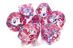 Old School RPG Dice Set: Infused - Blue Stars w/ Red