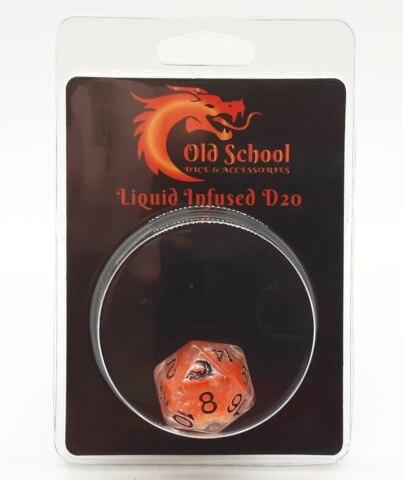Old School D20 DnD RPG Die: Liquid Infused - Metallic Orange