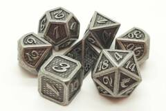 Old School 7 Piece DnD RPG Metal Dice Set: Dragon Scale - Ancient Silver