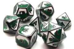 Old School 7 Piece DnD RPG Metal Dice Set: Dragon Forged - Green & White w/ Black Nickel