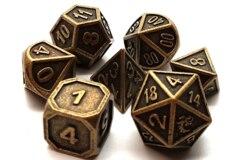 Old School 7 Piece DnD RPG Metal Dice Set: Dwarven Forged - Ancient Gold