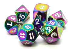 Old School RPG Metal Dice: Halfling Forged - Brilliant Rainbow