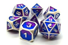 Old School Metal RPG Dice: Dragon Forged - Platinum Purple & Blue