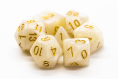 Old School RPG Dice Set: Pearl Drop - White w/ Gold