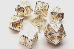 Old School 7 Piece DnD RPG Metal Dice Set: Knights of the Round Table - Silver w/ Gold