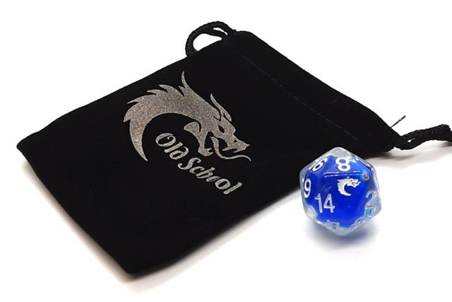 Old School D20 DnD RPG Die: Liquid Infused - Metallic Blue