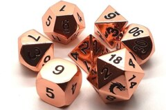 Old School 7 Piece DnD RPG Metal Dice Set: Halfling Forged - Shiny Copper