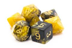 Old School RPG Dice Set: Vorpal - Black & Gold  w/ Gold