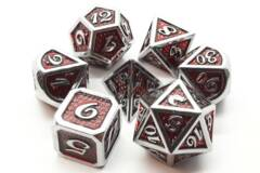 Old School 7 Piece DnD RPG Metal Dice Set: Dragon Scale - Red