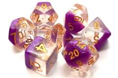 Old School 7 Piece DnD RPG Dice Set: Luminous - Snow Cone