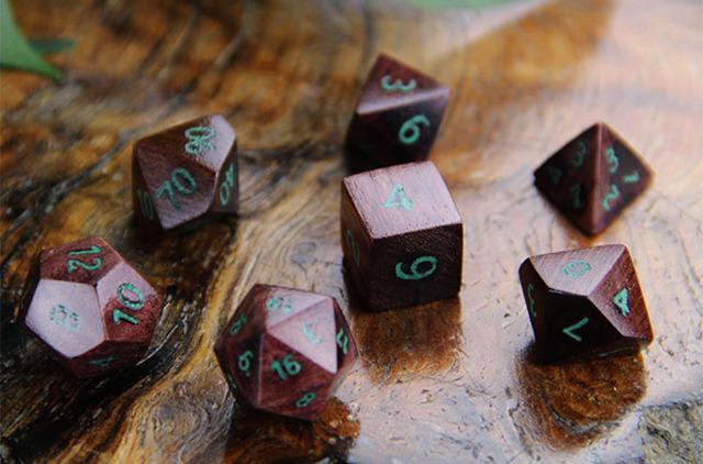 Artifact Dice: PurpleHeart w/ Malachite Inlay