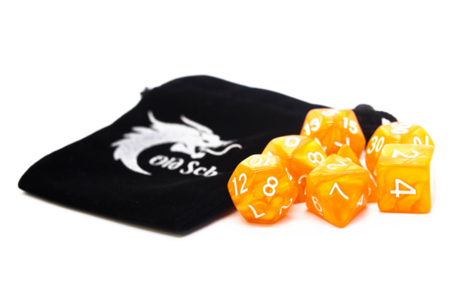 Old School RPG Dice Set: Pearl Drop - Orange