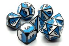 Old School RPG Metal Dice Set: Dragon Forged - Blue & White w/ Black Nickel