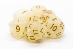 Old School RPG Dice Set: Pearl Drop - Shimmer White