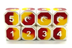 Old School Metal D6 Set: Dragon Forged - Platinum Red & Yellow
