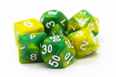 Old School RPG Dice Set: Vorpal - Green & Yellow