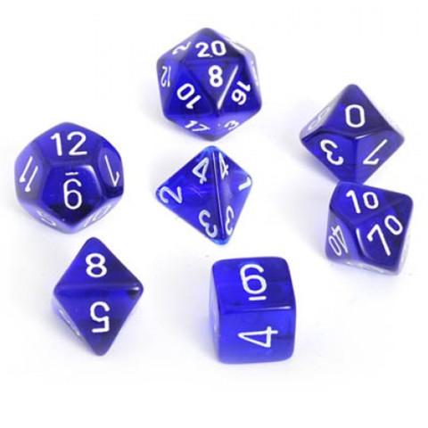Translucent Blue w/ White Polyhedral 7-Die Set