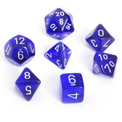 Translucent Blue w/ White Polyhedral 7-Die Set
