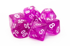 Old School RPG Dice Set: Sparkle - Translucent Magenta