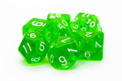 Old School RPG Dice Set: Translucent Light Green