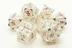 Old School 7 Piece DnD RPG Metal Dice Set: Hollow Dragon Dice - Silver w/ Red