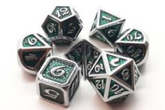 Old School 7 Piece DnD RPG Metal Dice Set: Dragon Scale - Green