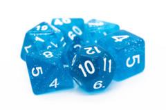 Old School RPG Dice Set: Sparkle - Translucent Blue