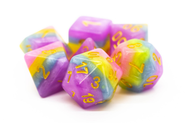 Old School RPG Dice Set: Gradients - Cotton Candy