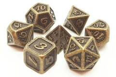 Old School 7 Piece DnD RPG Metal Dice Set: Dragon Scale - Ancient Gold