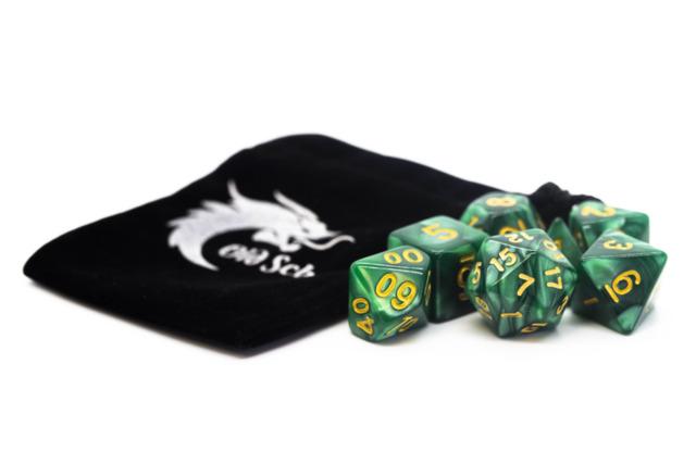 Old School RPG Dice Set: Pearl Drop - Green w/ Gold