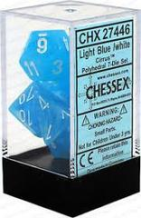 Cirrus Light Blue /white Polyhedral 7 Dice Set - CHX27446