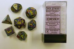 Festive Mosaic w/ Yellow 7ct Polyhedral Dice Set CHX 27450