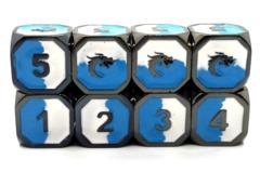Old School Metal Dice D6 Set: Dragon Forged - Blue & White w/ Black Nickel