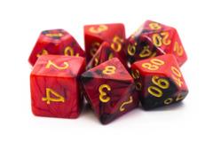 Old School RPG Dice Set: Vorpal - Black & Red w/ Gold