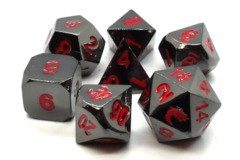 Old School RPG Metal Dice: Halfling Forged - Black Nickel w/ Red