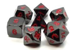 Old School RPG Metal Dice: Halfling Forged - Black Nickel w/ Red