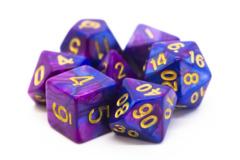 Old School RPG Dice Set: Vorpal - Lavender & Blue w/ Gold