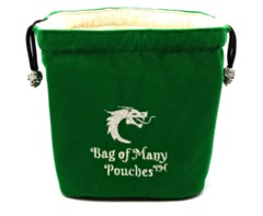 Old School Dice: Bag of Many Pouches Dice Bag - Green