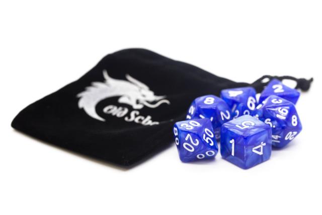 Old School RPG Dice Set: Pearl Drop - Blue