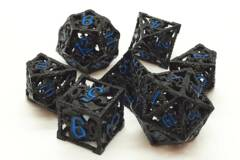 Old School 7 Piece DnD RPG Metal Dice Set: Hollow Dragon Dice - Black w/ Light Blue
