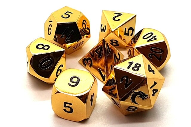 Old School 7 Piece DnD RPG Metal Dice Set: Halfling Forged - Shiny Gold