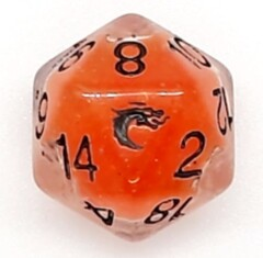 Old School D20 DnD RPG Die: Liquid Infused - Metallic Orange
