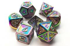 Old School 7 Piece DnD RPG Metal Dice Set: Dragon Scale - Spectral