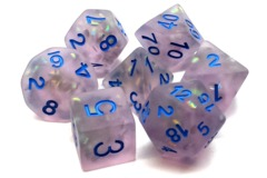 Old School RPG Dice Set: Infused - Frosted Firefly - Lavender w/ Blue