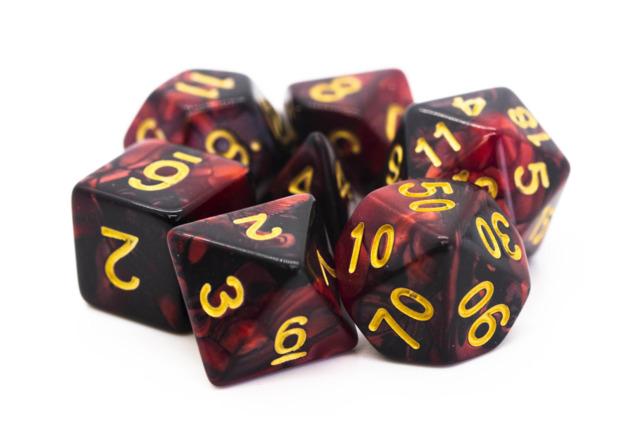 Old School RPG Dice Set: Vorpal - Blood Red & Black w/ Gold