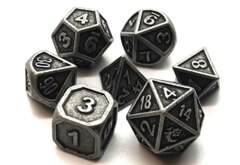 Old School 7 Piece DnD RPG Metal Dice Set: Dwarven Forged - Ancient Silver